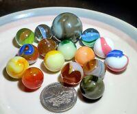 Vintage Peltier Vitro Akro Jabo mixed Marbles Lot 1 Shooter and 15 peewees