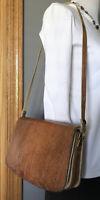 Vintage Brown Genuine Leather Embossed Lizard Skin Expandable Shoulder Handbag