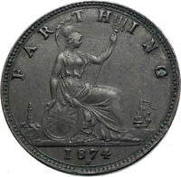 1874 UK Great Britain United Kingdom QUEEN VICTORIA Farthing Antique Coin i79503