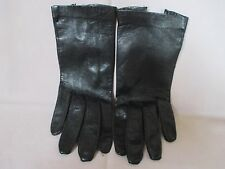 Vintage Ladies Small Black Very Soft Leather Gloves