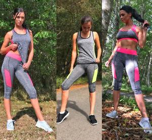 Ladies 2 Piece Gym Wear Set One Size 8-12 Exercise Yoga Vest Crop Top Leggings
