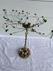 Easter Tabletop Decoration - Tree with Painted Eggs And Birds Cute!