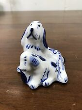 Russian Gzhel Porcelain Irish Setter Dog And Puppy Collectible Figurine.