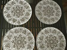 "Four KIM SEYBERT 15"" Silver- Gray- Metallic Lace Beaded PLACEMATS  HANDMADE"