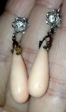Antique Vintage Art Deco 14K Angelskin Coral & Diamond Earrings! MAGNIFICENT!