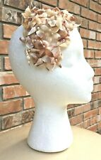 Lovely Vintage Ladies Headband Hat with Mauve Pink Velvet Flowers and Leaves