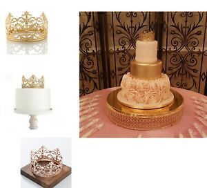 Vintage Gold/Rose Crown Cake Topper Queen Princess Party Wedding Bridal Decor