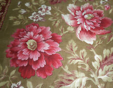 Antique 19thc French Botanical Floral Stripe Cotton Fabric ~ Pink Bordeaux Brown