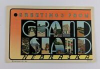 Postcard Greetings from Grand Island Nebraska Big Letter