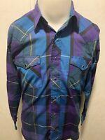 VTG Wrangler Pearl Snap Western Plaid L/S Mens Blue Purple Button Down Shirt M