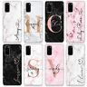 PERSONALISED PHONE CASE MARBLE NAME INITIALS SILICONE COVER FOR SAMSUNG S20 S10