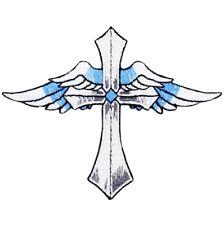 "Cross Applique Patch - Angel Wings, Christ, Jesus Badge 4"" (Iron on)"