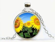 Chain Pendant Necklace Y7~� sunflower Cabochon Silver plated Glass