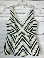 Anthropologie MAEVE Cream Navy Striped Tank Top Blouse NEW Women's Size 2P $100