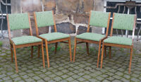 Stühle Hellerau Design 60er Jahre ,Holz mit mintgrünem Polster,orig.um 1960-1970
