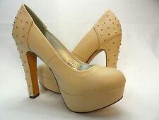 DIBA Women's Yes Lady Nude Imileath Metal Studs Platform High Heel size 8