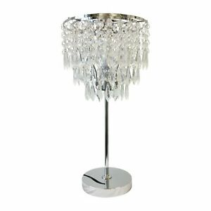 Modern Chrome Acrylic Crystal Jewelled Table Lamp or Bedside Light