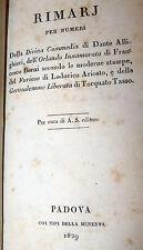 Rimario Divina Commedia Dante Orlando Ariosto Berni Gerusalemme Tasso 1829