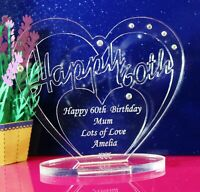 Personalised 60th Birthday  Heart Gift with message -  Free Standing Keepsake