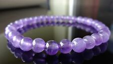 """Genuine Amethyst Bead Bracelet for Men (On Stretch) 6mm AAA Quality - 8"""" inch"""