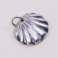 Vintage Sterling Silver Handmade Pendant, solid 925 Shell Charm