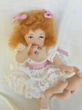 Miniature Porcelain Bisque Girl doll for Dollhouse in Party Dress With Baby!