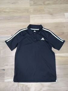 Adidas Boys Youth Golf Shirt size 14/16 XL Black W/ White