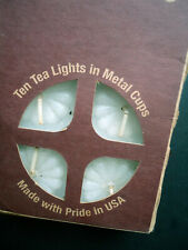 Brand New Set Of 10 Tea Lights In Metal Cups- Christmas-Made in USA