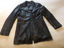 Veste,manteau 3/4 en cuir d agneau noir , femme , taille 46