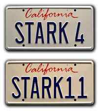 Iron Man 1 & 2 | STARK 4 + STARK 11 | Metal Stamped Prop License Plate Combo