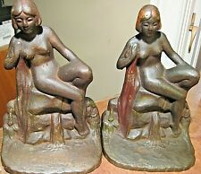 VINTAGE VERY OLD PAIR ART DECO IRON HEAVY NUDE GIRLS LADIES BOOKENDS BEAUTIFUL