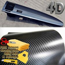 "48"" x 60"" Premium 4D Gloss Black Carbon Fiber Vinyl Wrap Bubble Free Air Release"
