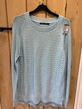 Woolover Cable Front Jumper BNWT Aqua medium