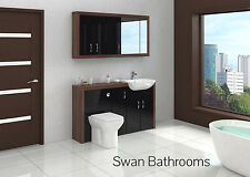 TOBACCO WALNUT / BLACK GLOSS BATHROOM FITTED FURNITURE WITH WALL UNITS 1500MM