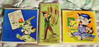 """VINTAGE 3 LOT 1940s GET WELL CARDS W/ENVELOPES """"A STRAW HAT CARD"""" UNUSED"""
