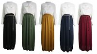 New Womens Ladies Chiffon Chain Belted Long Sleeve Maxi Dress Abaya Gown 8-14