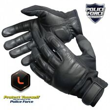 NEW GENUINE POLICE FORCE TACT SAP GLOVES BLACK LEATHER NYLON COMFORTABLE SIZE XL