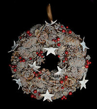 Frosted Berry & Cone Christmas Wreath - 31cm . Highly Detailed with Stars