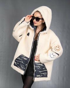 8018 NEW GLAMOROUS WHITE REVERSIBLE SHEARLING COAT LUXURY JACKET HOOD SIZE XL