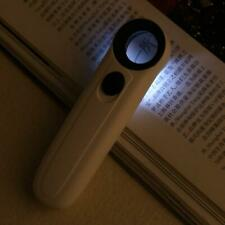 40X Handheld 2 LED Light Magnifier Reading Magnifying Glass Lens Jewelry Loupe