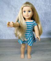 "American Girl 18"" Doll ELIZABETH As MCKENNA In Meet Outfit DRESS Blonde Blue Eye"