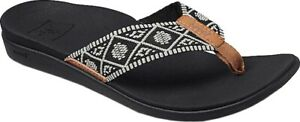 Reef Ortho Bounce Woven Flip Flop (Women's Sandals) in Black/White Rubber - NEW
