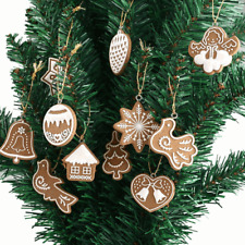 11Pcs Biscuit Bois Ornement Suspendu Accrocher Décor Maison Arbre Noël Boutique