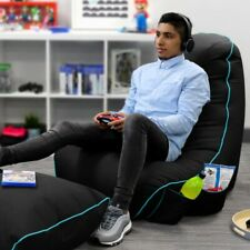 Black rugame Gamer Bean Bag Chair - Durable, Water-Resistant, Gaming Pockets
