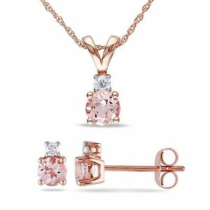 10k Rose Gold Morganite & 1/10 Ct TDW Diamond Necklace & Earrings Set G-H I2-I3