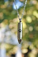 Mens Bullet Cremation Necklace Pendant Urn 4 Ashes LARGE VIAL Pet Paw Print Dog