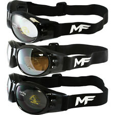 3 MF Vulcan Motorcycle Goggles Black Frames Clear Driving Mirror Smoke Lens