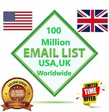 100 Million USA & UK, Worldwide Consumer Email List, Sales Leads Database✔️✔️