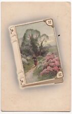 Superb Litho Landscape Scene with Figure in Embossed Book PPC, Drewsteignton PMK