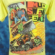vtg 80s MUD SWEAT & GEARS SPRINT CAR RACING T-Shirt S world of outlaws cartoon